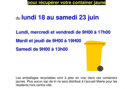 Containers jaunes pour le  recyclable